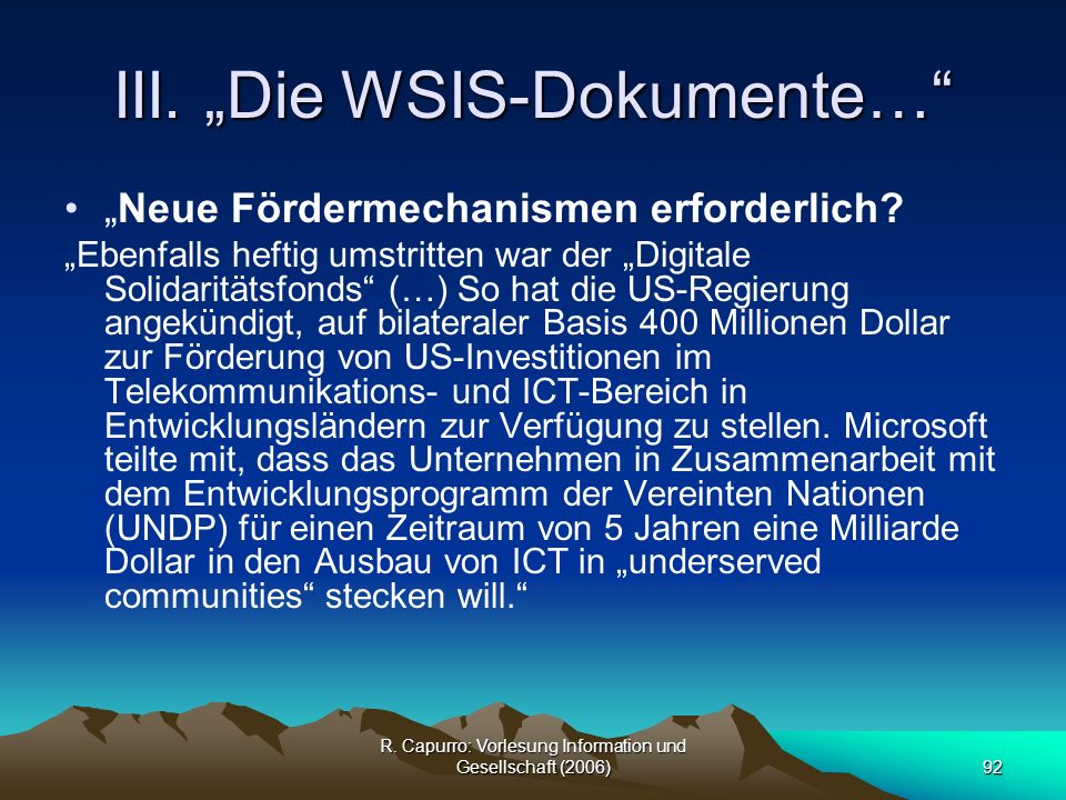 """III. """"Die WSIS-Dokumente…"""