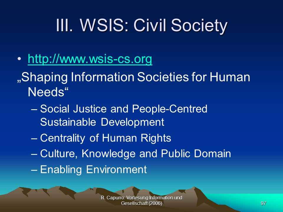 III. WSIS: Civil Society