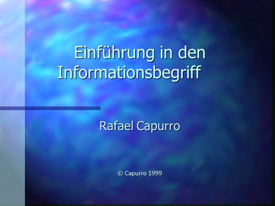 Einführung in den Informationsbegriff