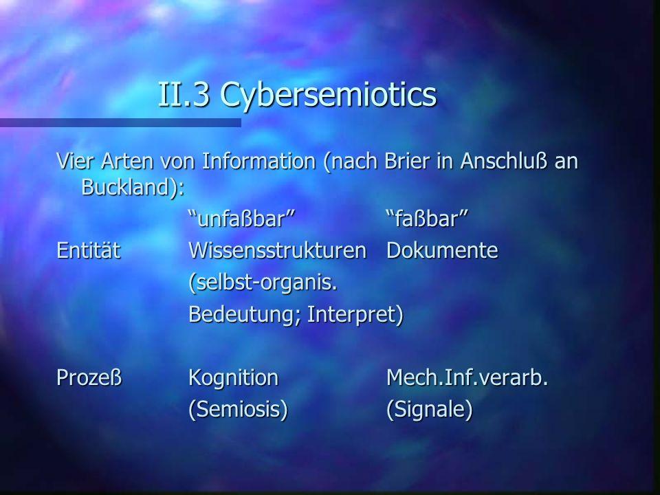 II.3 Cybersemiotics Vier Arten von Information (nach Brier in Anschluß an Buckland): unfaßbar faßbar