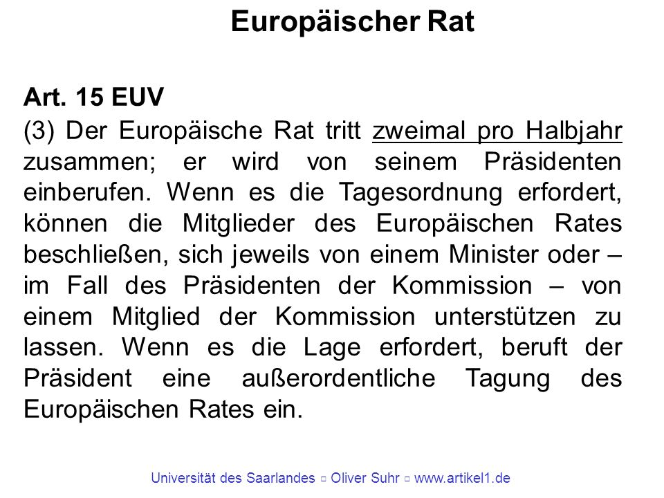 Europäischer Rat Art. 15 EUV