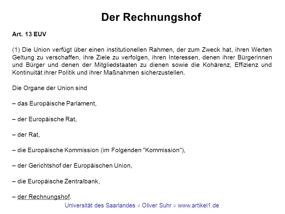 Der Rechnungshof Art. 13 EUV