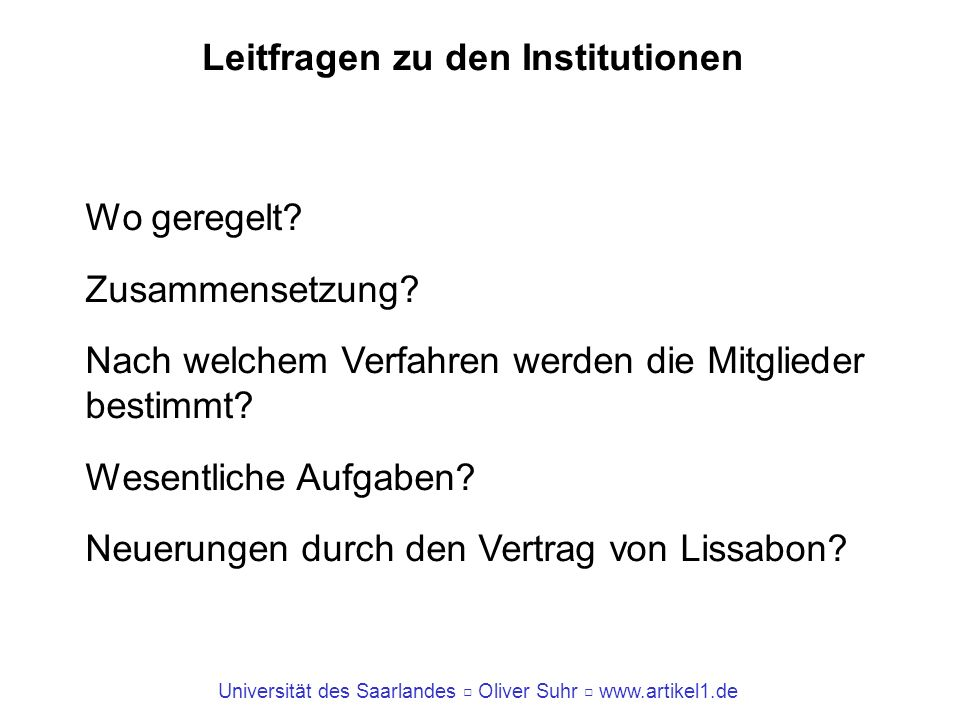 Leitfragen zu den Institutionen