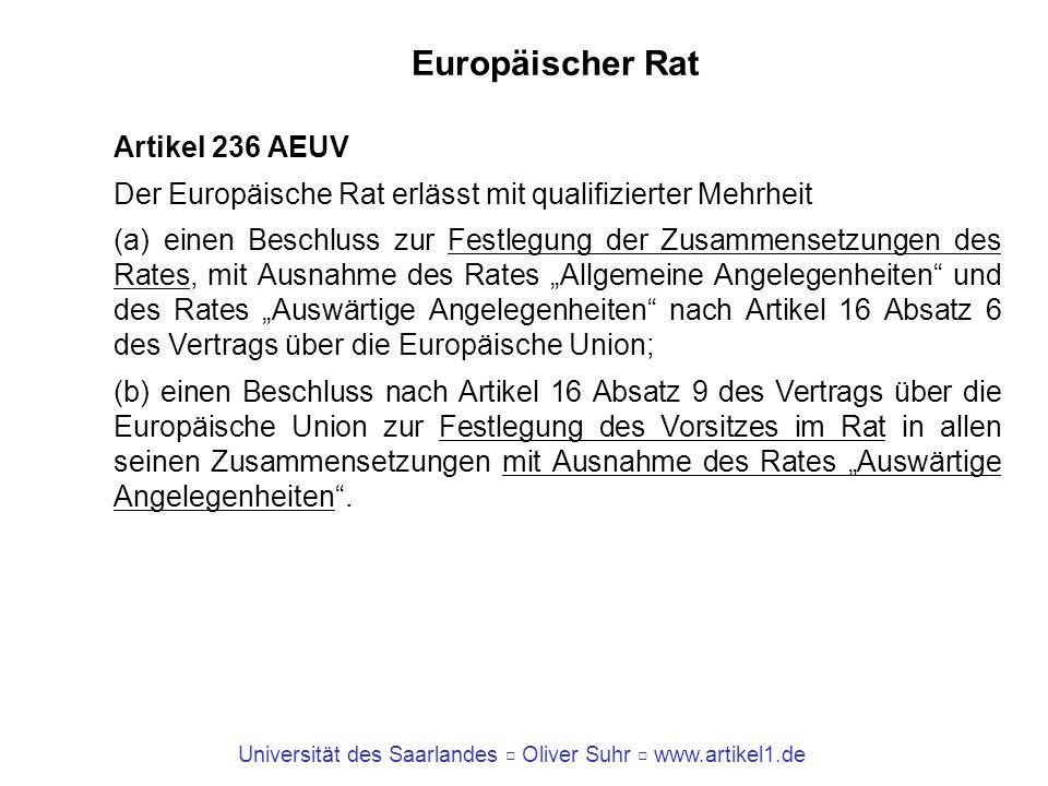 Europäischer Rat Artikel 236 AEUV