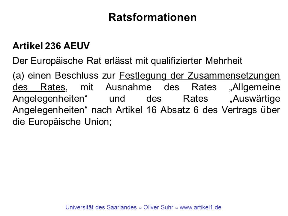 Ratsformationen Artikel 236 AEUV