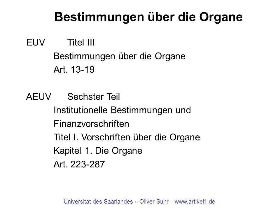 Bestimmungen über die Organe