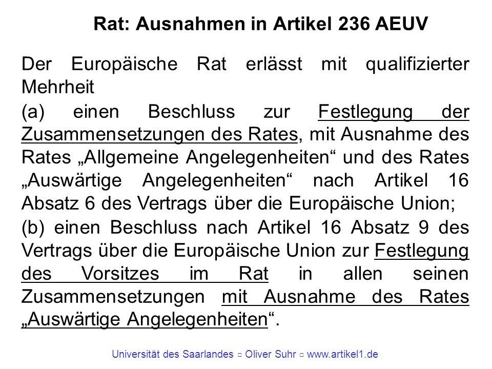 Rat: Ausnahmen in Artikel 236 AEUV