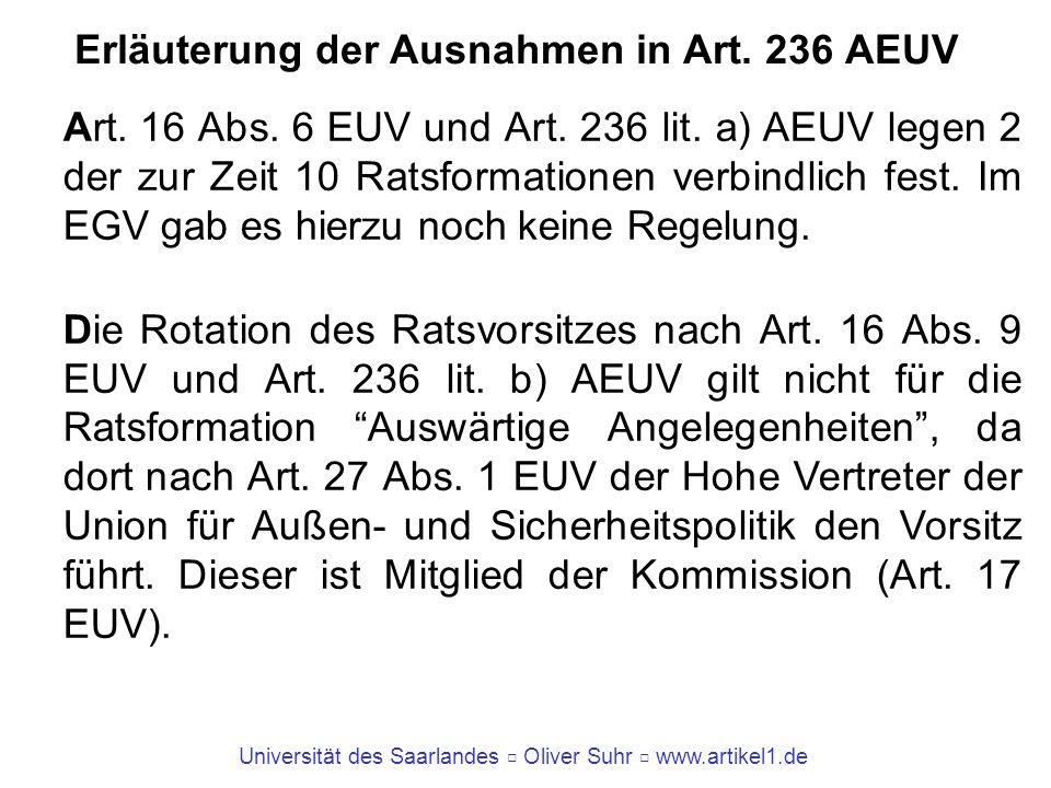 Erläuterung der Ausnahmen in Art. 236 AEUV