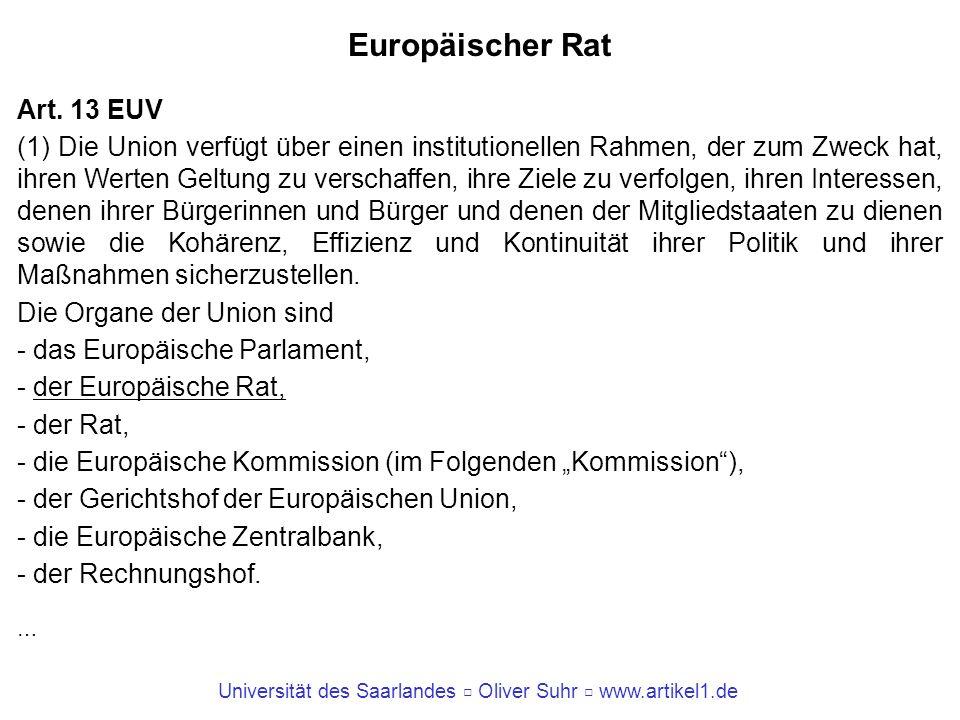 Europäischer Rat Art. 13 EUV