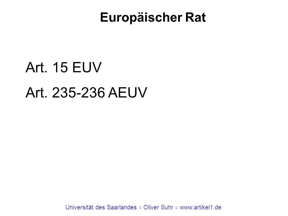 Europäischer Rat Art. 15 EUV Art. 235-236 AEUV