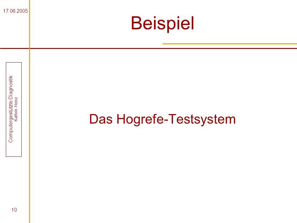 Beispiel Das Hogrefe-Testsystem 17.06.2005