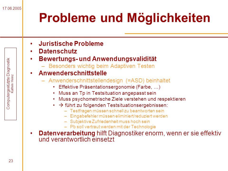 Probleme und Möglichkeiten
