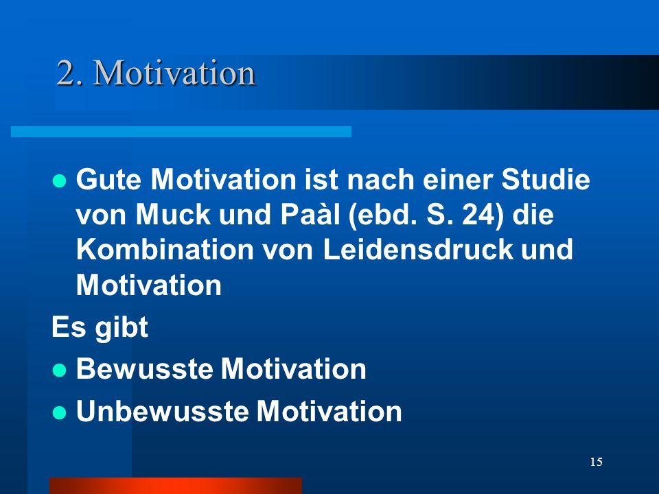 2. Motivation Gute Motivation ist nach einer Studie von Muck und Paàl (ebd. S. 24) die Kombination von Leidensdruck und Motivation.