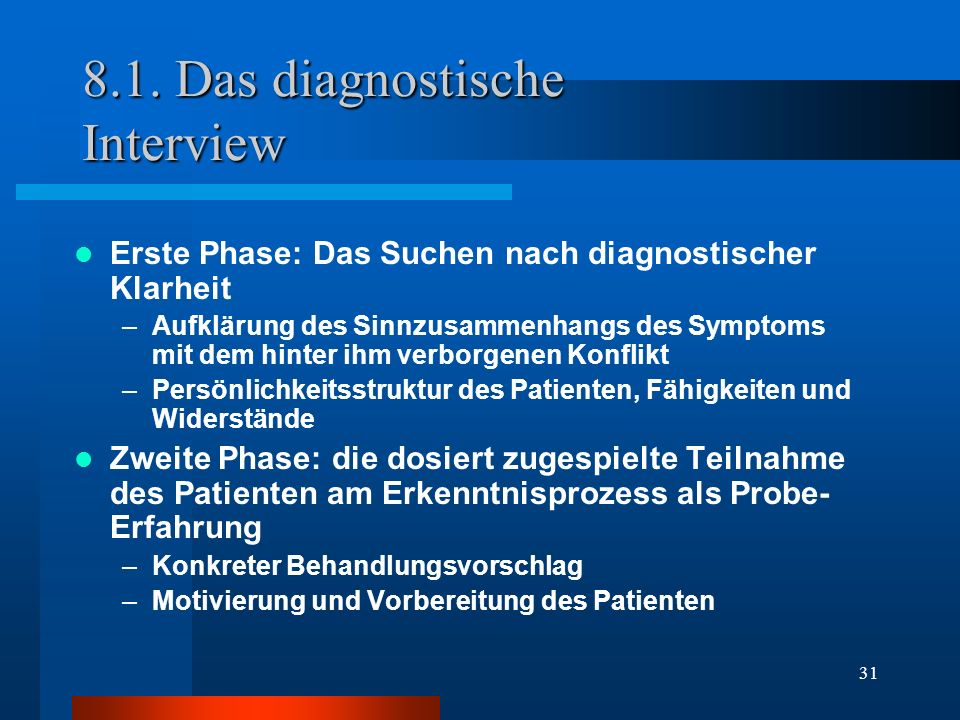 8.1. Das diagnostische Interview