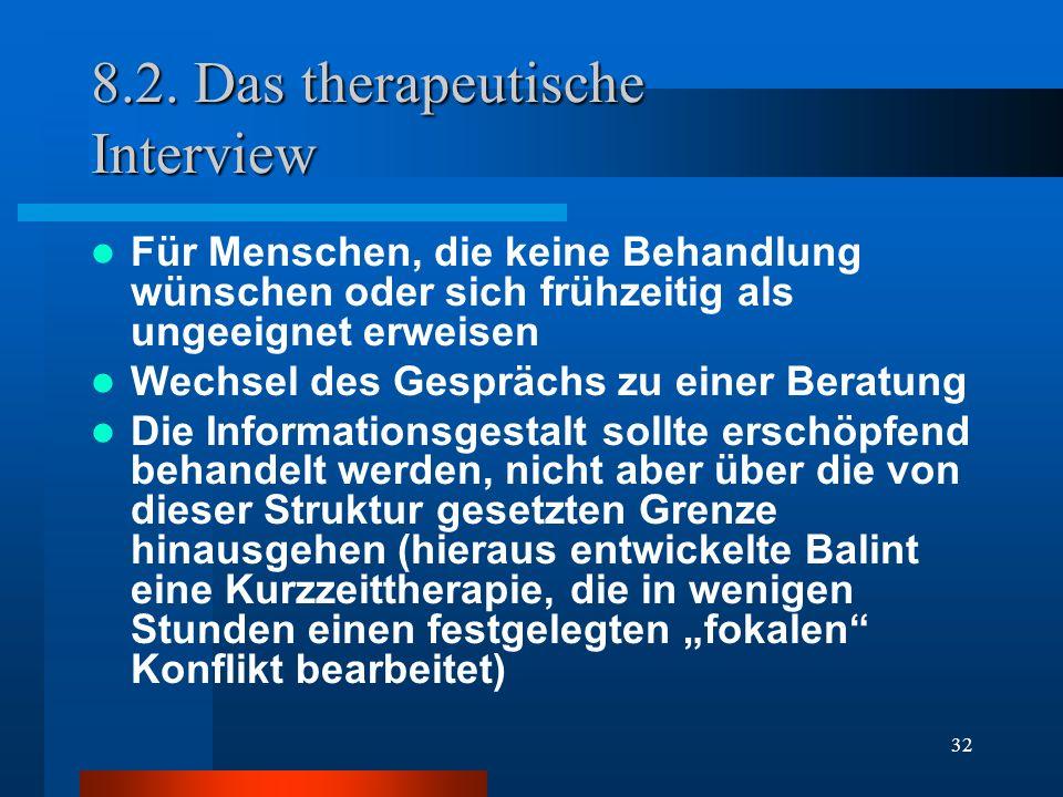 8.2. Das therapeutische Interview