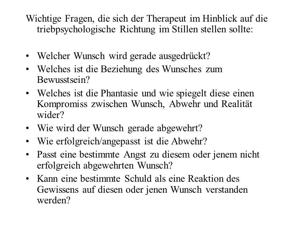 Wichtige Fragen, die sich der Therapeut im Hinblick auf die triebpsychologische Richtung im Stillen stellen sollte: