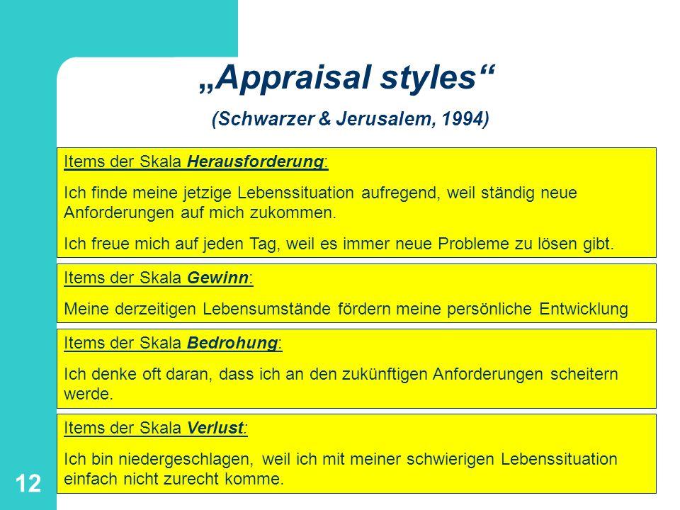 """""""Appraisal styles (Schwarzer & Jerusalem, 1994)"""