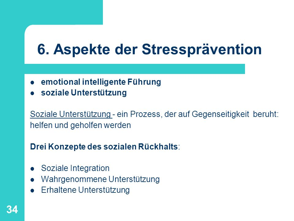 6. Aspekte der Stressprävention