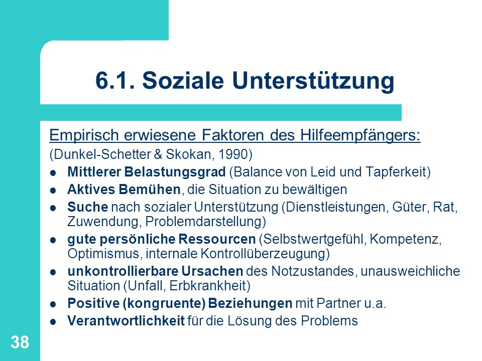 6.1. Soziale Unterstützung