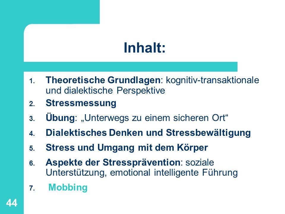 Inhalt:Theoretische Grundlagen: kognitiv-transaktionale und dialektische Perspektive. Stressmessung.