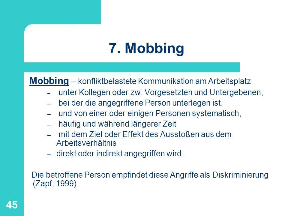 7. Mobbing Mobbing – konfliktbelastete Kommunikation am Arbeitsplatz