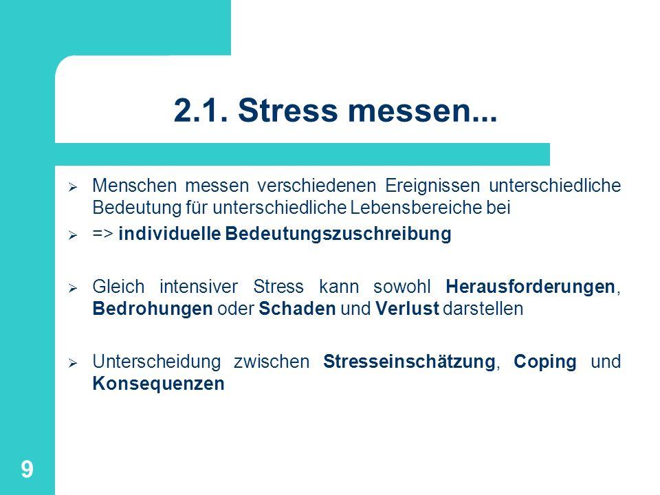 2.1. Stress messen... Menschen messen verschiedenen Ereignissen unterschiedliche Bedeutung für unterschiedliche Lebensbereiche bei.