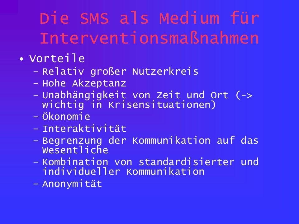 Die SMS als Medium für Interventionsmaßnahmen