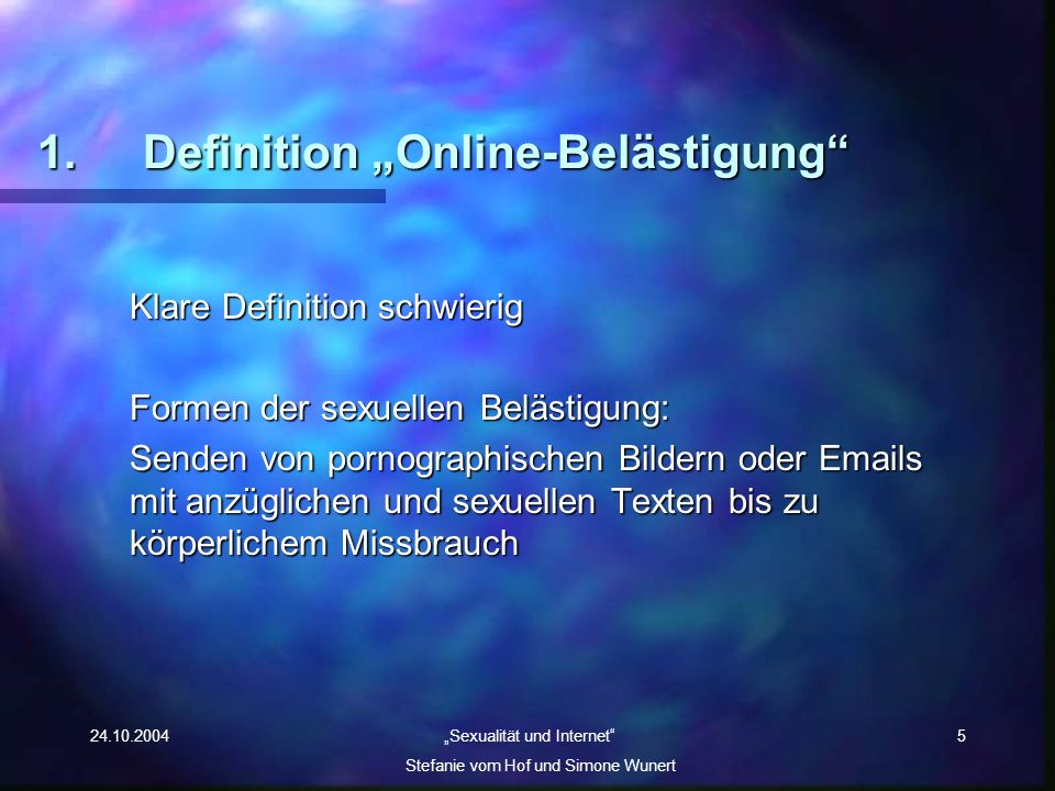 """1. Definition """"Online-Belästigung"""