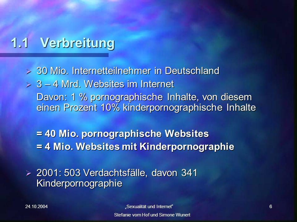 1.1 Verbreitung 30 Mio. Internetteilnehmer in Deutschland