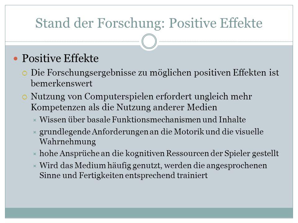Stand der Forschung: Positive Effekte