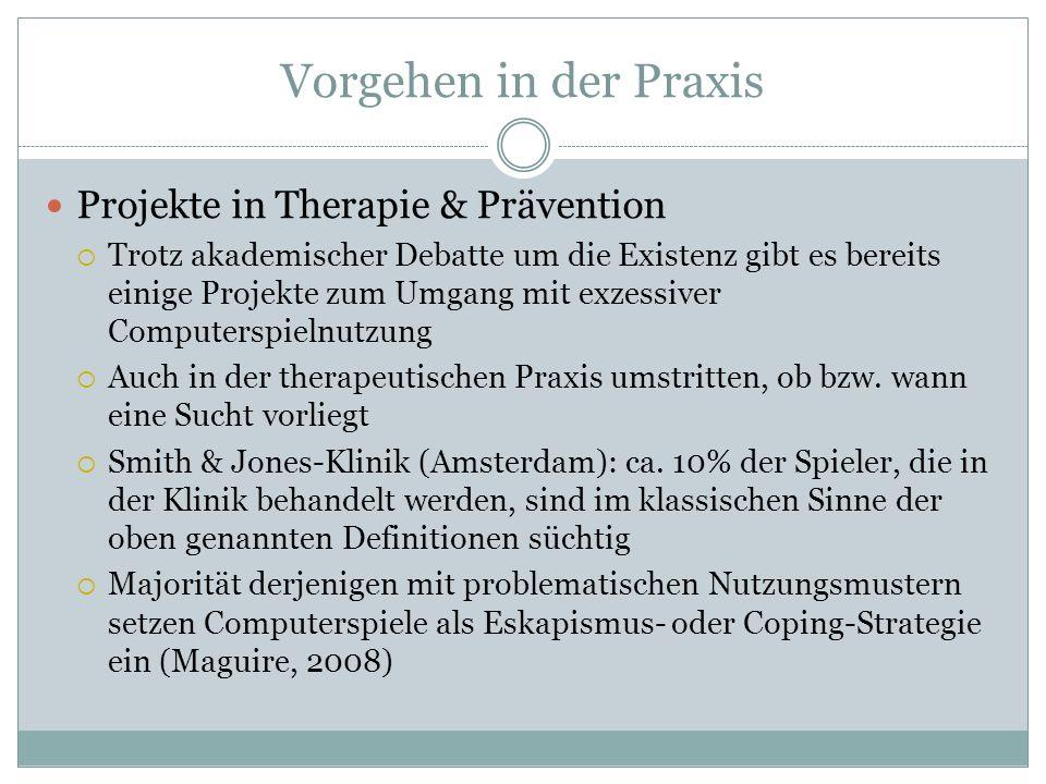 Vorgehen in der Praxis Projekte in Therapie & Prävention