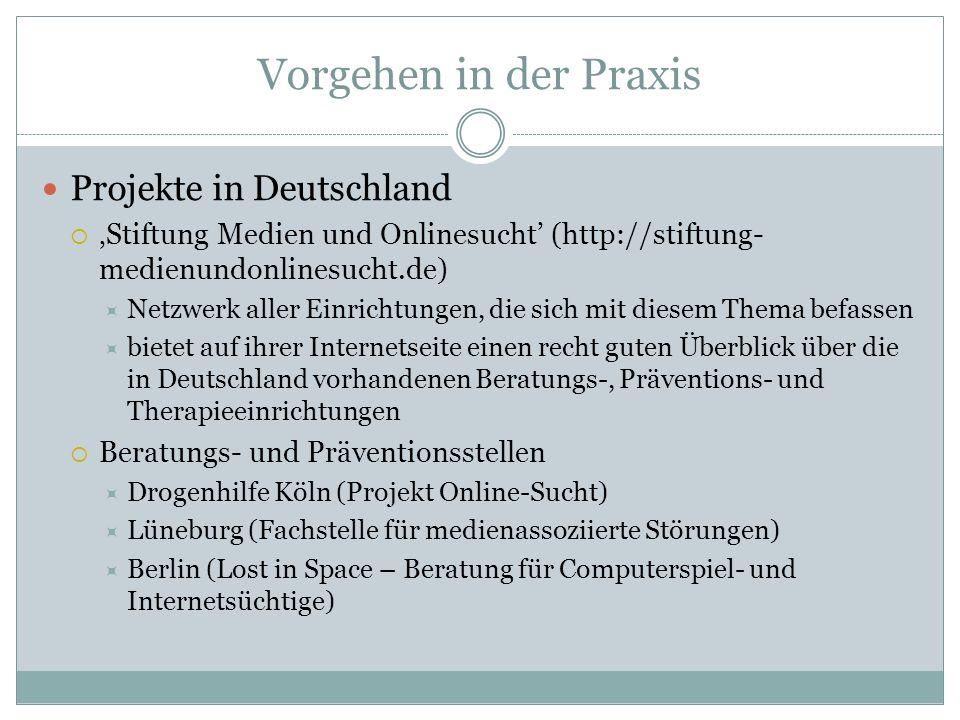 Vorgehen in der Praxis Projekte in Deutschland