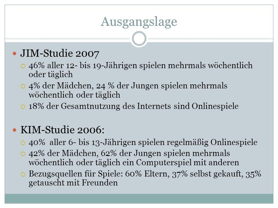 Ausgangslage JIM-Studie 2007 KIM-Studie 2006: