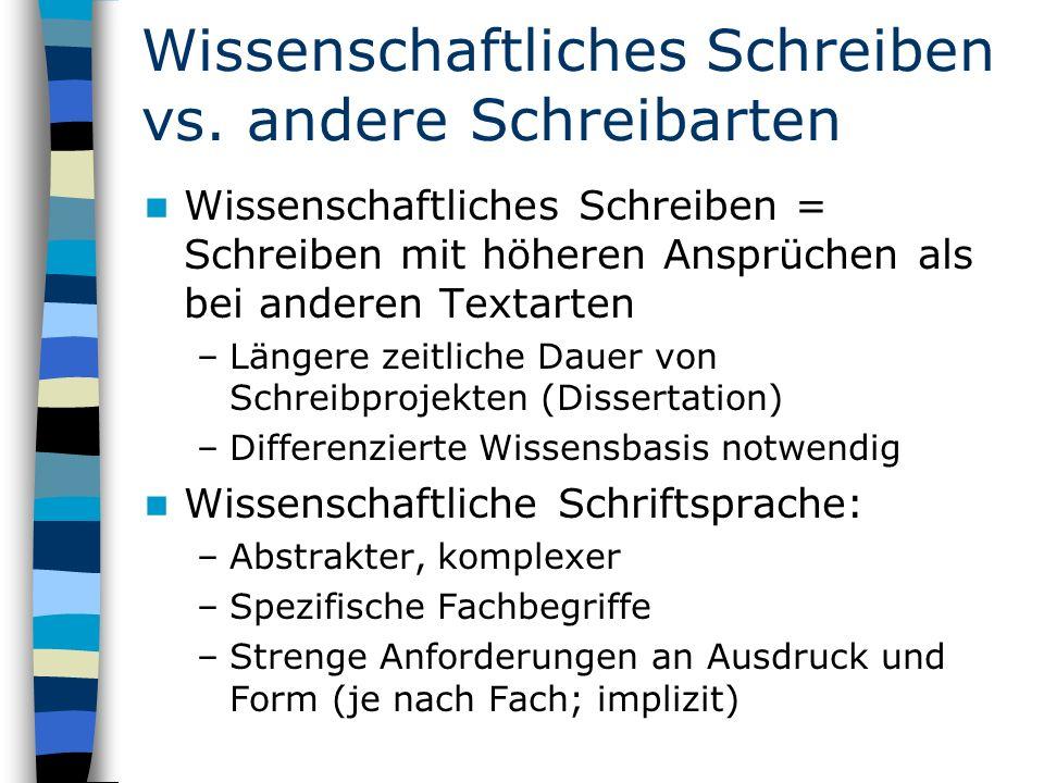 Wissenschaftliches Schreiben vs. andere Schreibarten