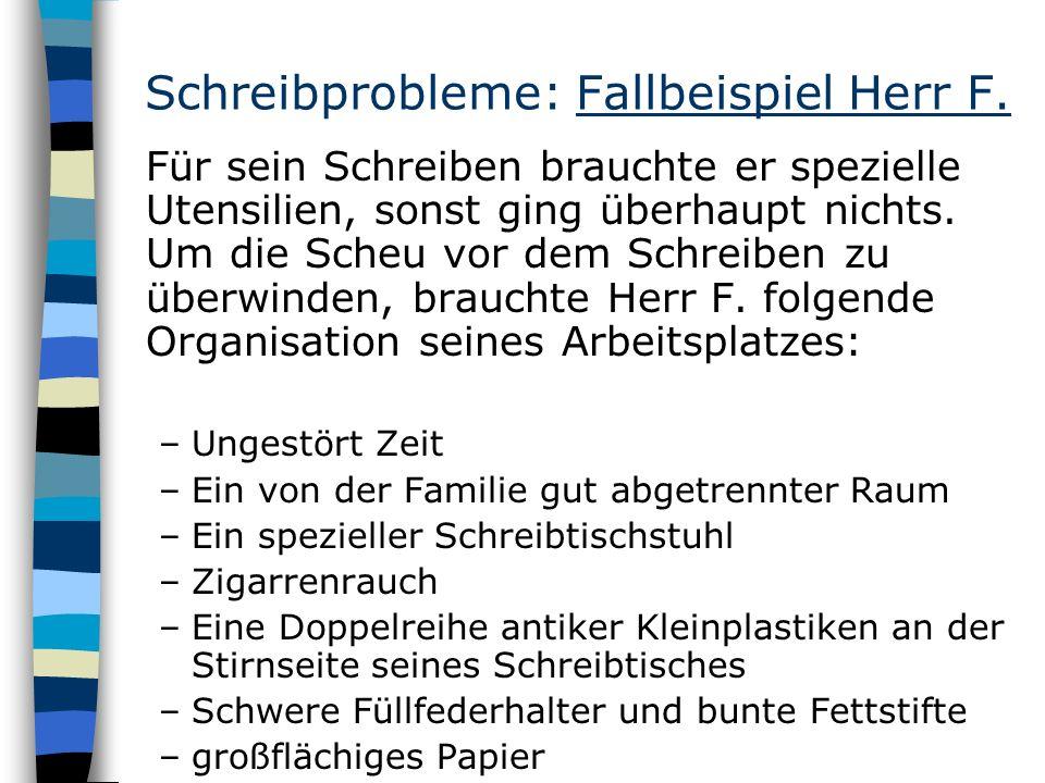 Schreibprobleme: Fallbeispiel Herr F.