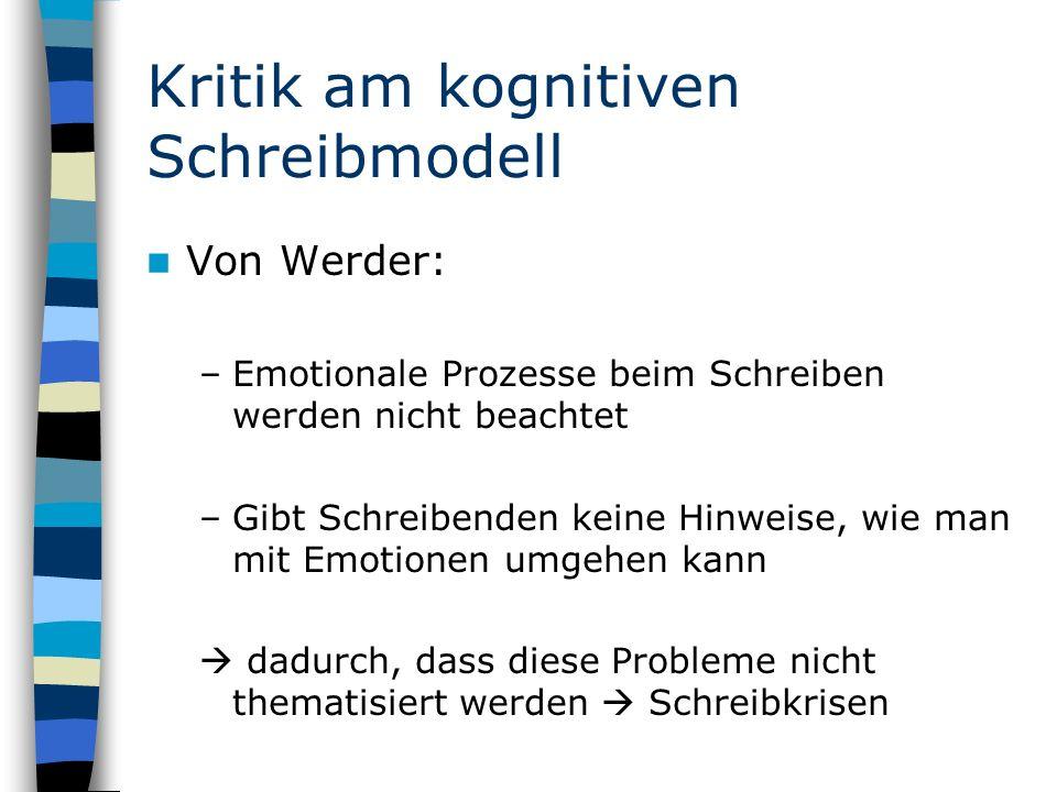 Kritik am kognitiven Schreibmodell