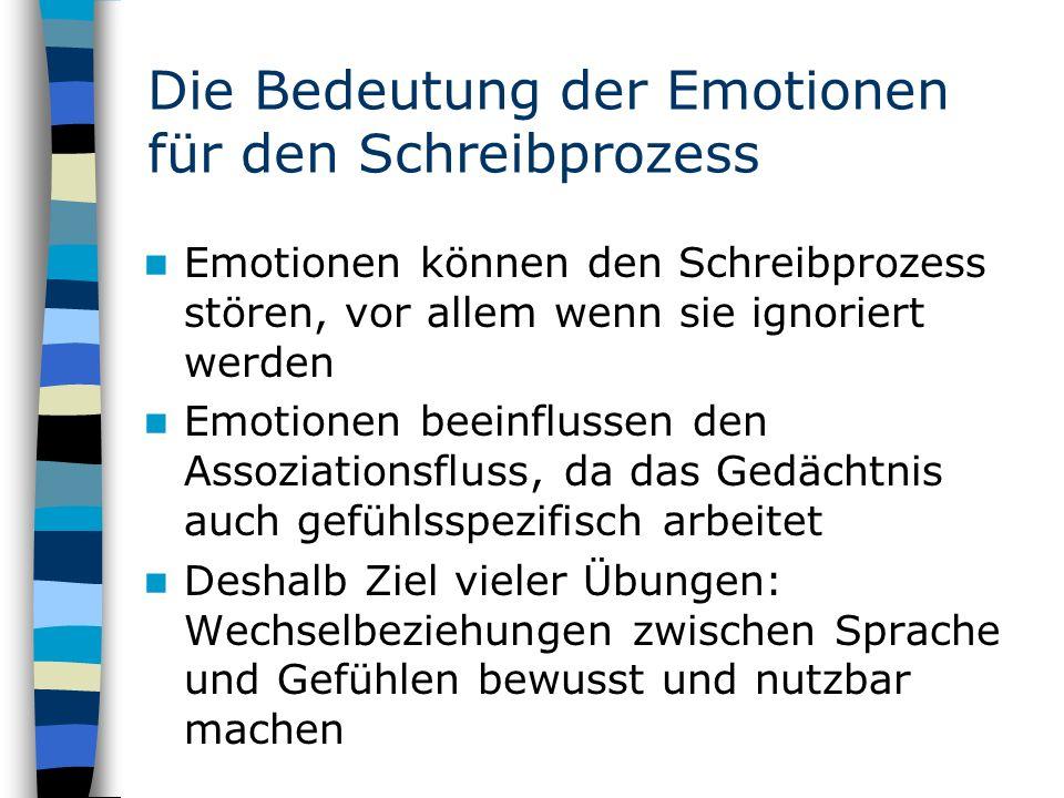 Die Bedeutung der Emotionen für den Schreibprozess