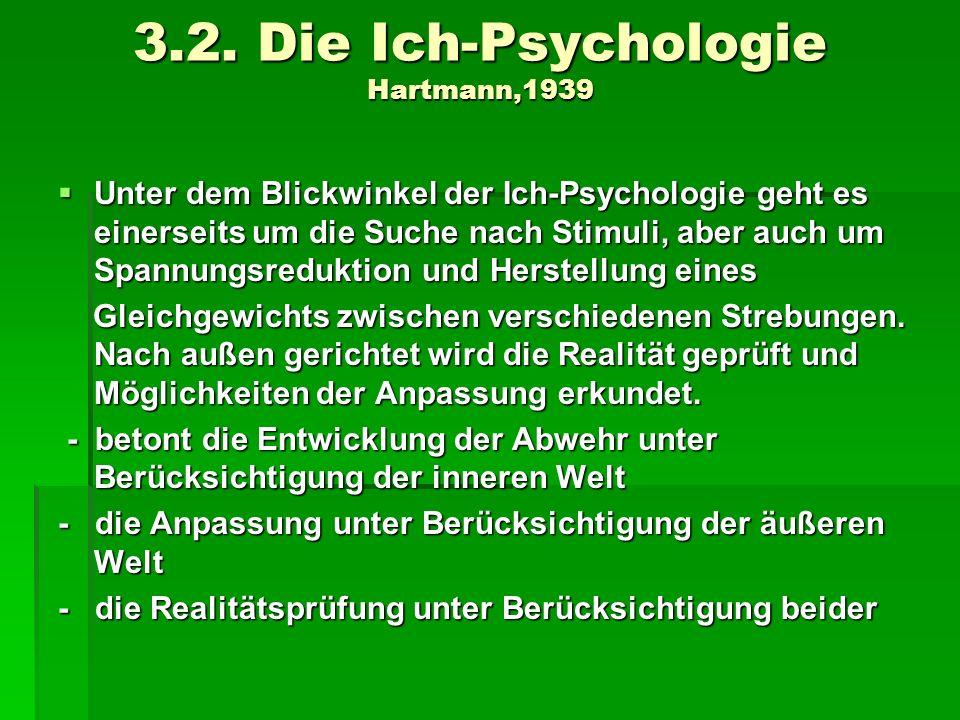 3.2. Die Ich-Psychologie Hartmann,1939