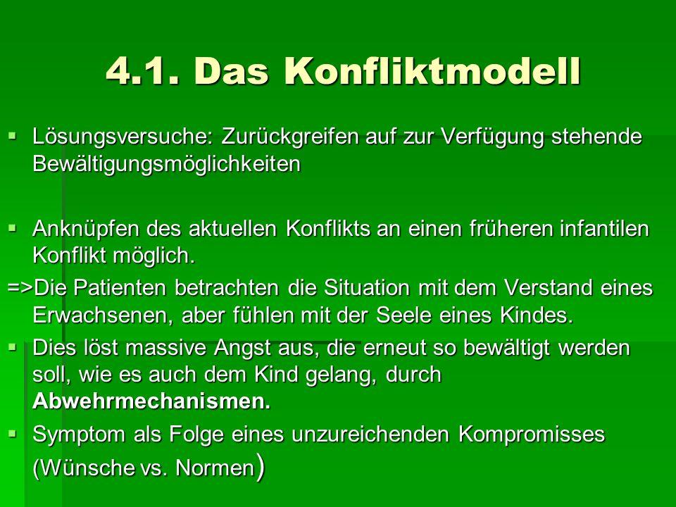 4.1. Das Konfliktmodell Lösungsversuche: Zurückgreifen auf zur Verfügung stehende Bewältigungsmöglichkeiten.