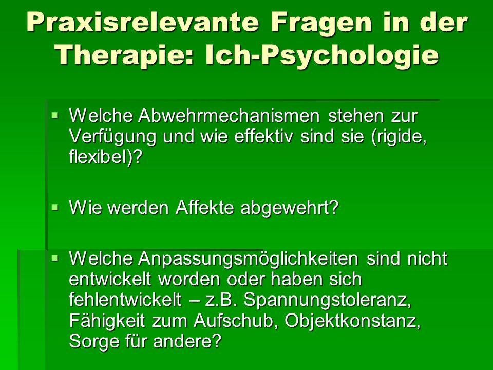 Praxisrelevante Fragen in der Therapie: Ich-Psychologie