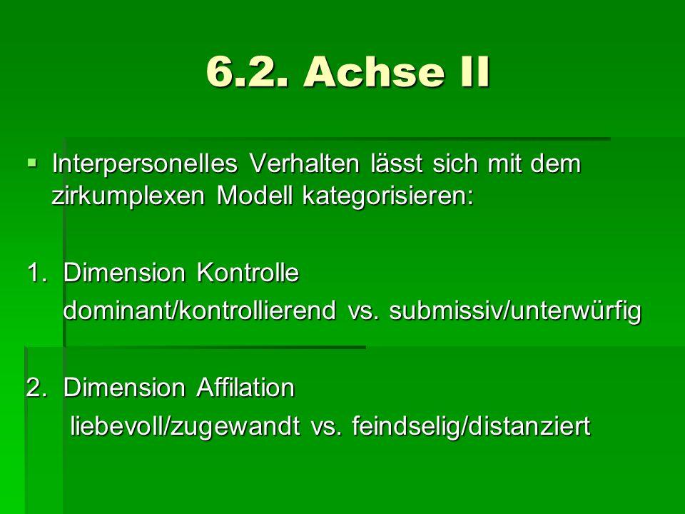 6.2. Achse IIInterpersonelles Verhalten lässt sich mit dem zirkumplexen Modell kategorisieren: 1. Dimension Kontrolle.