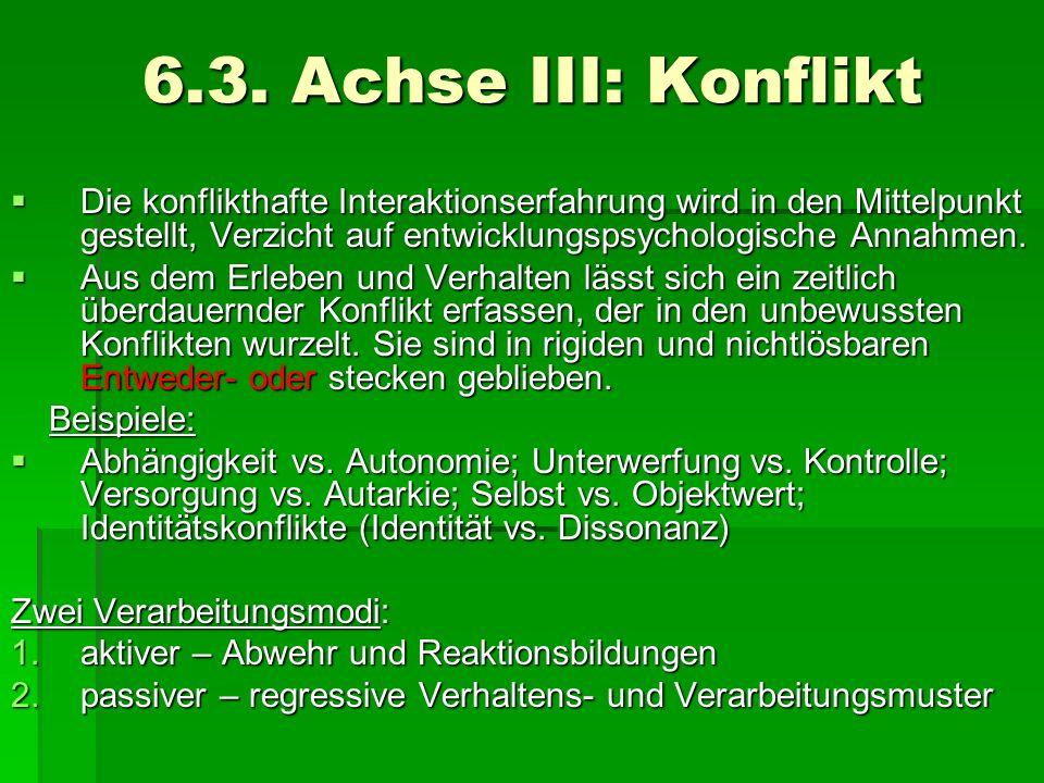6.3. Achse III: KonfliktDie konflikthafte Interaktionserfahrung wird in den Mittelpunkt gestellt, Verzicht auf entwicklungspsychologische Annahmen.
