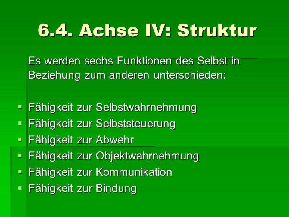 6.4. Achse IV: StrukturEs werden sechs Funktionen des Selbst in Beziehung zum anderen unterschieden: