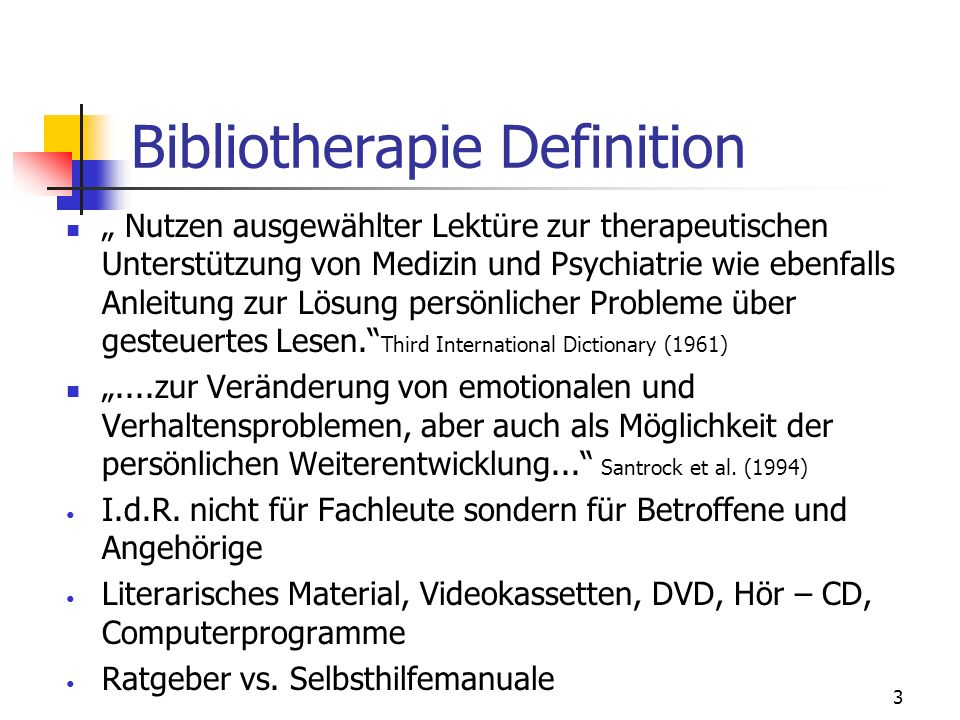 Bibliotherapie Definition
