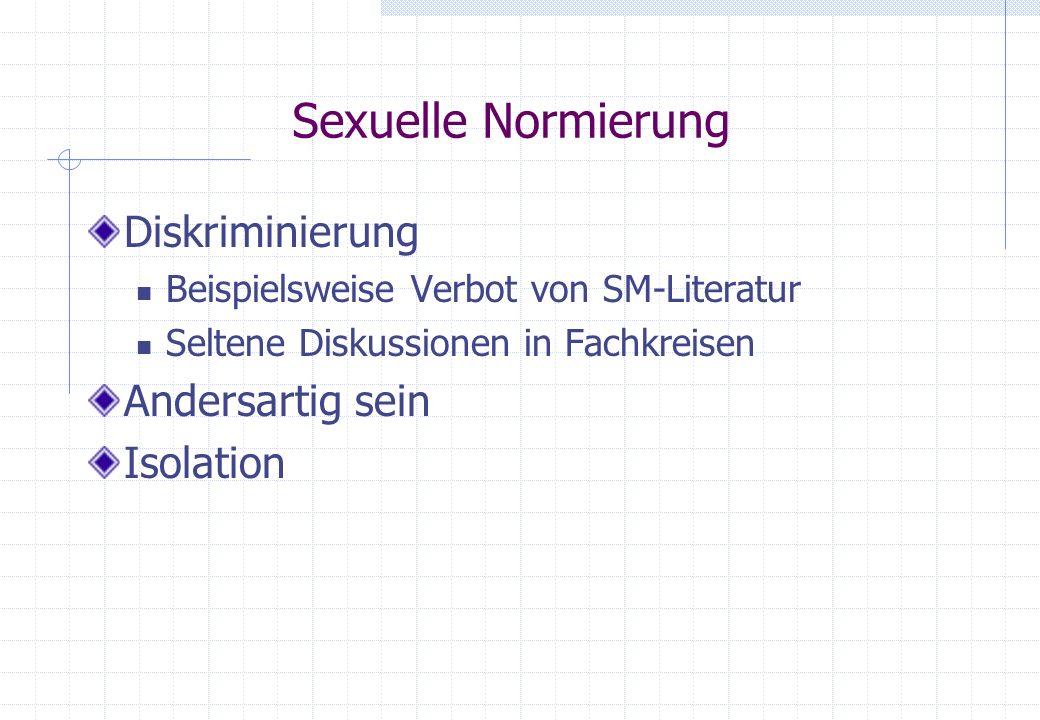 Sexuelle Normierung Diskriminierung Andersartig sein Isolation