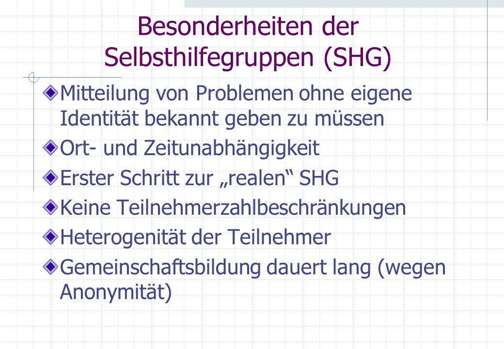Besonderheiten der Selbsthilfegruppen (SHG)