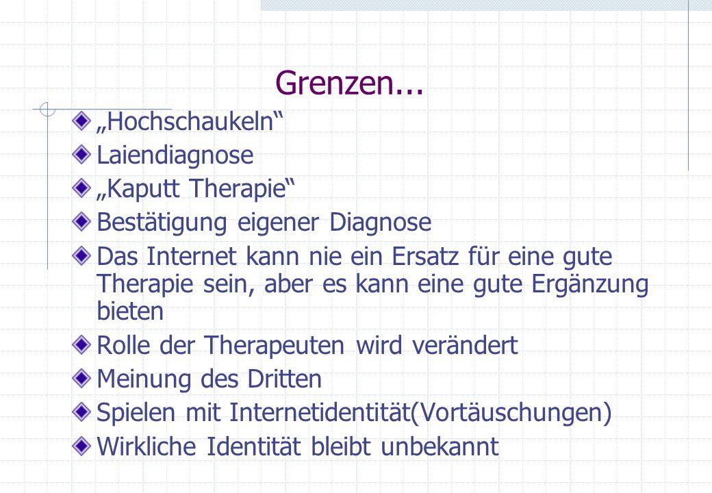 """Grenzen... """"Hochschaukeln Laiendiagnose """"Kaputt Therapie"""
