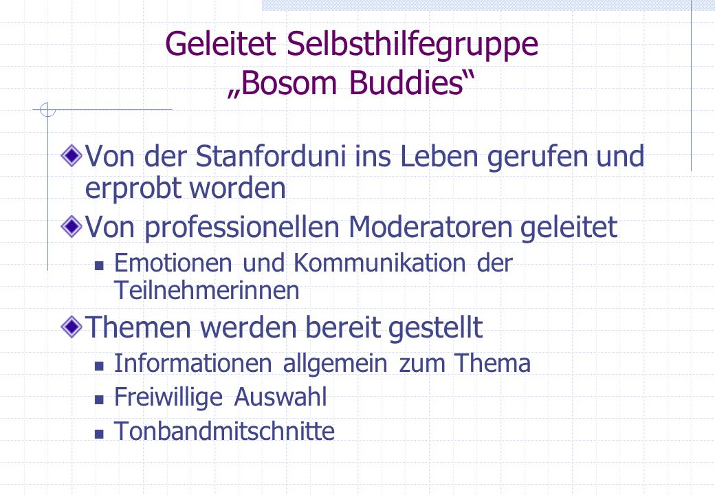 """Geleitet Selbsthilfegruppe """"Bosom Buddies"""