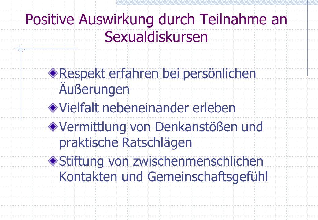 Positive Auswirkung durch Teilnahme an Sexualdiskursen
