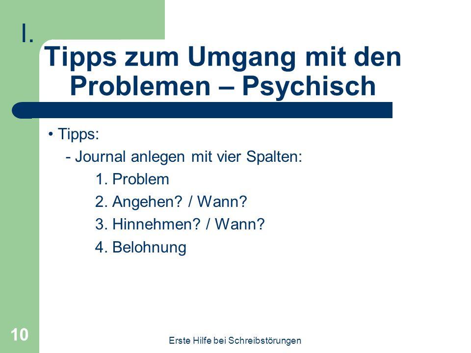 Tipps zum Umgang mit den Problemen – Psychisch